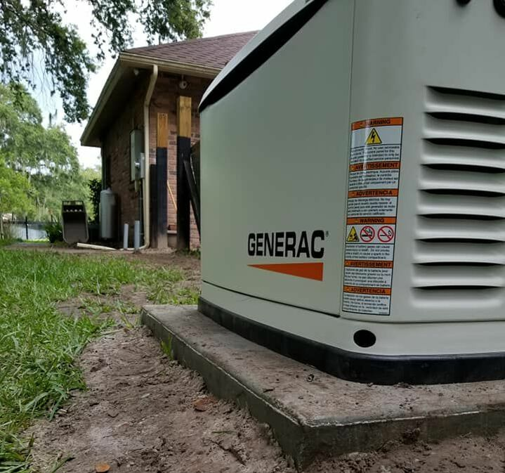 A Generac standby generator installed for a homeowner in Spring Hill FL will power the entire house during power outages.  Installed by ATR Electrical Services.
